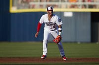 Kannapolis Cannon Ballers second baseman Lency Delgado (5) on defense against the Columbia Fireflies at Atrium Health Ballpark on May 19, 2021 in Kannapolis, North Carolina. (Brian Westerholt/Four Seam Images)