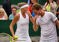 London, England, 3 July, 2016, Tennis, Wimbledon,Mixed Doubles: Oksana Kalashnikova (GRG) and Matwe Middelkoop (NED)<br /> Photo: Henk Koster/tennisimages.com