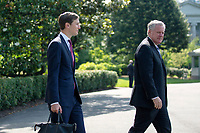 Jared Kushner, Assistant to the President and Senior Advisor, left, and Mark Meadows, Assistant to the President and Chief of Staff, walk on the South Lawn of the White House in Washington D.C., U.S., as United States President Donald J. Trump departs for Yuma, Arizona on Tuesday, June 23, 2020.  Trump stated that he authorized the Federal government to arrest any demonstrator caught vandalizing U.S. monuments, with a punishment of up to 10 years in prison.  Credit: Stefani Reynolds / CNP/AdMedia