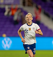 ORLANDO, FL - JANUARY 18: Kristie Mewis #22 of the USWNT celebrates during a game between Colombia and USWNT at Exploria Stadium on January 18, 2021 in Orlando, Florida.