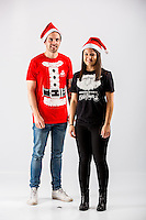 Wednesday 02 November 2016<br /> Pictured: Julie Parienti and Jordan Harris<br /> Re: Swansea City Christmas Photo shoot, Liberty Stadium, Wales, UK