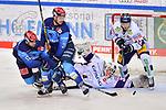 Ryan Kuffner (Nr.12 - ERC Ingolstadt), Wayne Simpson (Nr.21 - ERC Ingolstadt) und Eric Mik (Nr.12 - Eisbären Berlin) vor Torwart Mathias Niederberger (Nr.35 - Eisbären Berlin) beim Spiel im Halbfinale der DEL, ERC Ingolstadt (dunkel) - Eisbaeren Berlin (hell).<br /> <br /> Foto © PIX-Sportfotos *** Foto ist honorarpflichtig! *** Auf Anfrage in hoeherer Qualitaet/Aufloesung. Belegexemplar erbeten. Veroeffentlichung ausschliesslich fuer journalistisch-publizistische Zwecke. For editorial use only.