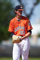 GCL Astros pitcher Forrest Whitley (63) gets ready to deliver a pitch during the first game of a doubleheader against the GCL Mets on August 5, 2016 at Osceola County Stadium Complex in Kissimmee, Florida.  GCL Astros defeated the GCL Mets 4-1 in the continuation of a game started on July 21st and postponed due to inclement weather.  (Mike Janes/Four Seam Images)