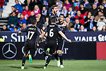 Alvaro Morata of Real Madrid celebrates with teammates Sergio Ramos, Lucas Vazquez and Nacho Fernandez during their La Liga match between Deportivo Leganes and Real Madrid at the Estadio Municipal Butarque on 05 April 2017 in Madrid, Spain. Photo by Diego Gonzalez Souto / Power Sport Images