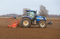 8-3-2021 Power harrowing and drilling Spring Barley in Lincolnshire <br /> ©Tim Scrivener Photographer 07850 303986<br />      ....Covering Agriculture In The UK....