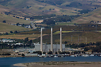 aerial photograph of the stacks of the abandoned Morro Bay Power Plant, San Luis Obispo County, California