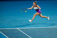 16th February 2021, Melbourne, Victoria, Australia; Simona Halep of Romania  returns the ball during the quarterfinals of the 2021 Australian Open on February 16 2021, at Melbourne Park in Melbourne, Australia.