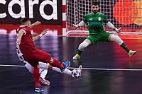 9th October 2020; Palau Blaugrana, Barcelona, Catalonia, Spain; UEFA Futsal Champions League Finals; Mrucia FS versus MFK Tyumen;  Goalkeeper Rafa of ElPozo Murcia spreads himself to cover the shot