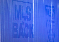 LAKE BUENA VISTA, FL - JULY 18: The MLS is Back logo is seen during a game between Los Angeles Galaxy and Los Angeles FC at ESPN Wide World of Sports on July 18, 2020 in Lake Buena Vista, Florida.