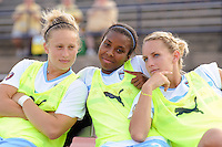 Ella Masar (3), Nikki Washington (26), and Natalie Spilger (13) of the Chicago Red Stars pose for a photo before the game. The Philadelphia Independence defeated the Chicago Red Stars 3-0 during a Women's Professional Soccer (WPS) match at John A. Farrell Stadium in West Chester, PA, on July 28, 2010.