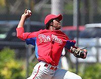 Philadelphia Phillies Lisalverto Bonilla during a minor league spring training game against the Toronto Blue Jays at the Carpenter Complex on March 16, 2012 in Clearwater, Florida.  (Mike Janes/Four Seam Images)