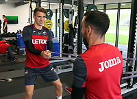 (L-R) Tom Carroll and Leon Britton exercise in the gym during the Swansea City Training at The Fairwood Training Ground, Swansea, Wales, UK. Wednesday 27 September 2017
