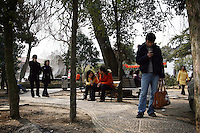 CHINA. Hubei Province. Wuhan. Wuhan (population 4.3 million) is a sprawling city that sits on both sides of the Yangtze River. Young people relaxing in a park. 2008.