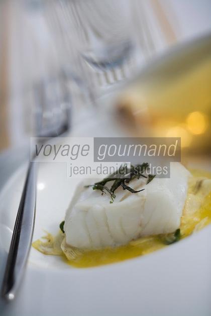 """Europe/France/Rhone-Alpes/73/Savoie/Val-Thorens: Lieu jaune de ligne, artichauts croquants coulis de Kumquat - Recette de Jean Sulpice restaurant """"l'Oxalys"""""""