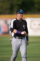 Grand Junction Rockies first baseman Grant Lavigne (40) warms up before a Pioneer League game against the Missoula Osprey at Ogren Park Allegiance Field on August 21, 2018 in Missoula, Montana. The Missoula Osprey defeated the Grand Junction Rockies by a score of 2-1. (Zachary Lucy/Four Seam Images)