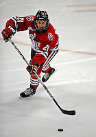 19 January 2008: Northeastern University Huskies' defenseman Drew Muench, a Freshman from Martensville, Saskatchewan, in action against the University of Vermont Catamounts at Gutterson Fieldhouse in Burlington, Vermont. The Catamounts defeated the Huskies 5-2 to close out their 2-game weekend series...Mandatory Photo Credit: Ed Wolfstein Photo