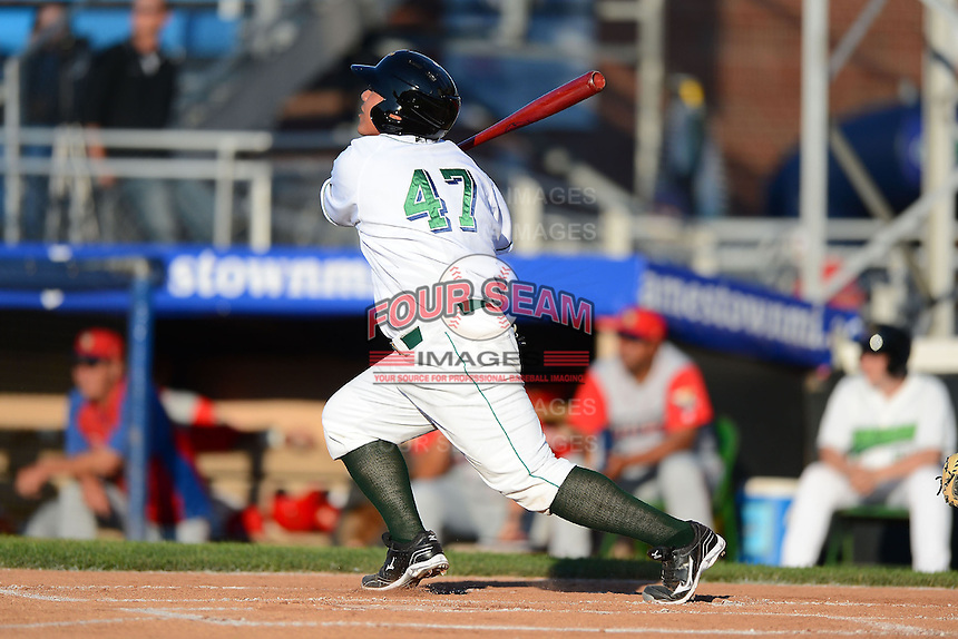 Jamestown Jammers catcher Jin-De Jhang #47 hits a home run during a game against the Williamsport Crosscutters on June 20, 2013 at Russell Diethrick Park in Jamestown, New York.  Jamestown defeated Williamsport 12-6.  (Mike Janes/Four Seam Images)