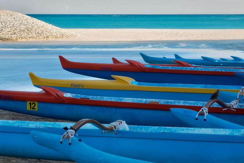 Outrigger Canoes on beach. Kailua Beach Park. Oahu, Hawaii