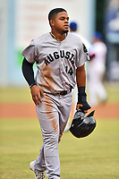 Augusta GreenJackets center fielder Heliot Ramos (14) during a game against the Asheville Tourists on Crash Davis Night at McCormick Field on June 16, 2018 in Asheville, North Carolina. The GreenJackets defeated the Tourists 7-6. (Tony Farlow/Four Seam Images)