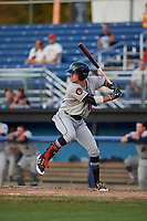 Mahoning Valley Scrappers third baseman Nolan Jones (10) at bat during a game against the Batavia Muckdogs on August 16, 2017 at Dwyer Stadium in Batavia, New York.  Batavia defeated Mahoning Valley 10-6.  (Mike Janes/Four Seam Images)