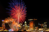 Fireworks from Skyshow Charlotte  2016 explode over BB&T Ballpark against the backdrop of the Charlotte NC skyline as the city celebrated the July 4th holiday in 2016. Photographer has fireworks celebrations in Charlotte from multiple years. The collection of Charlotte NC fireworks photos show different perspectives and weather conditions.<br /> <br /> Charlotte Photographer - PatrickSchneiderPhoto.com