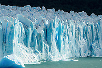 The jagged face of Perito Moreno Glacier and Lago Argentino in Los Glaciares National Park near El Calafate, Argentina.  A UNESCO World Heritage Site in the Patagonia region of South America.