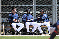 Minnesota Twins coaches Jake Mauer, Tommy Watkins and Henry Bonilla during a minor league spring training game against the Baltimore Orioles on March 28, 2015 at the Buck O'Neil Complex in Sarasota, Florida.  (Mike Janes/Four Seam Images)