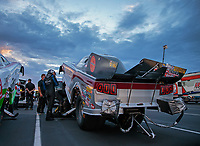 Aug 31, 2018; Clermont, IN, USA; NHRA funny car driver Jonnie Lindberg climbs into his car during qualifying for the US Nationals at Lucas Oil Raceway. Mandatory Credit: Mark J. Rebilas-USA TODAY Sports