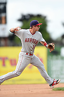Auburn Doubledays third baseman Cody Gunter (10) throws to first for the out during a game against the Batavia Muckdogs on August 31, 2014 at Dwyer Stadium in Batavia, New York.  Batavia defeated Auburn 7-6.  (Mike Janes/Four Seam Images)