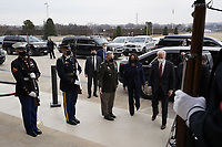 President Joe Biden and Vice President Kamala Harris walk with Joint Chiefs Chairman Gen. Mark Milley and Secretary of Defense Lloyd Austin, obscured at right, at the Pentagon, in Arlington, Virginia, 10 February 2021.<br /> CAP/MPI/RS<br /> ©RS/MPI/Capital Pictures
