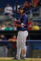 Lowell Spinners designated hitter Tanner Nishioka (31) at bat during a game against the Batavia Muckdogs on July 11, 2017 at Dwyer Stadium in Batavia, New York.  Lowell defeated Batavia 5-2.  (Mike Janes/Four Seam Images)