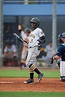 GCL Pirates Edgar Barrios (15) at bat during a Gulf Coast League game against the GCL Rays on August 7, 2019 at Charlotte Sports Park in Port Charlotte, Florida.  GCL Rays defeated the GCL Pirates 5-3 in the second game of a doubleheader.  (Mike Janes/Four Seam Images)