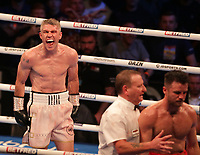9th October 2021; M&S Bank Arena, Liverpool, England; Matchroom Boxing, Liam Smith versus Anthony Fowler; LIAM SMITH (Liverpool, England)celebrates his technical knockout in the 8th round against  of ANTHONY FOWLER (Liverpool, England) to win the WBA International Super-Welterweight Title