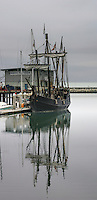 """""""The Niña - Most Historically Accurate Columbus Replica Ship Ever Built"""".  So says the Columbus Foundation on their website at www.thenina.com.  This image was taken in October 2008 when the Niña tied up for a few days at Pillar Point Harbor, Half Moon Bay, California."""
