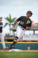 Pittsburgh Pirates second baseman Chris Bostick (63) runs the bases during a Grapefruit League Spring Training game against the New York Yankees on March 6, 2017 at LECOM Park in Bradenton, Florida.  Pittsburgh defeated New York 13-1.  (Mike Janes/Four Seam Images)