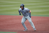 Brock Gagliardi (10) of the Old Dominion Monarchs takes his lead off of first base against the Charlotte 49ers at Hayes Stadium on April 23, 2021 in Charlotte, North Carolina. (Brian Westerholt/Four Seam Images)