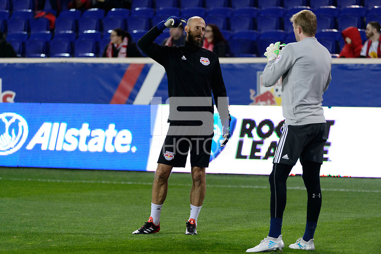Harrison, NJ - Thursday March 01, 2018: Preston Burpo, Ryan Meara. The New York Red Bulls defeated C.D. Olimpia 2-0 (3-1 on aggregate) during a 2018 CONCACAF Champions League Round of 16 match at Red Bull Arena.