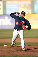 Rogelio Armenteros (41) of the Lancaster JetHawks pitches against the Bakersfield Blaze at The Hanger on April 28, 2016 in Lancaster, California. Lancaster defeated Bakersfield, 5-4. (Larry Goren/Four Seam Images)