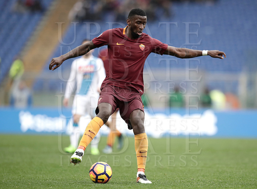 Roma's Antonio Ruediger in action during the Italian Serie A football match between Roma and Napoli at Rome's Olympic stadium, 4 March 2017. <br /> UPDATE IMAGES PRESS/Isabella Bonotto