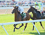 Heart to Heart (no. 5), ridden by Victor Espinoza and trained by Brian Lynch, wins the 69th running of the grade 3 Oceanport Stakes for three year olds and upward on August 2, 2015 at Monmouth Park in Oceanport, New Jersey. (Bob Mayberger/Eclipse Sportswire)