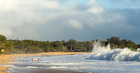 A large, powerful wave breaks at Big Beach at Makena State Park during the south swell on Maui.