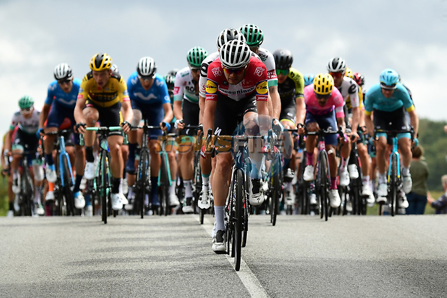 A hectic start to Stage 9 of Tour de France 2020, as Danish Champion Kasper Asgreen (DEN) Deceuninck-Quick Step tries to form the break, running 153km from Pau to Laruns, France. 6th September 2020. <br /> Picture: ASO/Alex Broadway   Cyclefile<br /> All photos usage must carry mandatory copyright credit (© Cyclefile   ASO/Alex Broadway)