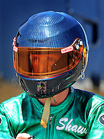 Jul. 17, 2010; Sonoma, CA, USA; NHRA pro stock motorcycle rider Shawn Gann during qualifying for the Fram Autolite Nationals at Infineon Raceway. Mandatory Credit: Mark J. Rebilas-