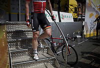 the most powerful legs of the Tour just signed in<br /> (André Greipel descending the start podium)<br /> <br /> stage 13: Muret - Rodez<br /> 2015 Tour de France