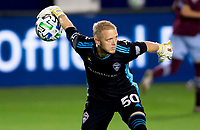 CARSON, CA - SEPTEMBER 19: William Yarbrough #50 GK of the Colorado Rapids underhands a ball during a game between Colorado Rapids and Los Angeles Galaxy at Dignity Heath Sports Park on September 19, 2020 in Carson, California.