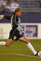 Goal keeper Carly Smolak of the San Diego Spirit needed only to stop three shots to shut out the New York Power. The Spirit defeated the Power 1-0 on July 20th at Mitchel Athletic Complex, Uniondale, NY.