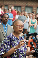 Cambridge Mayor Denise Simmons speaking to over 800 people gathered in support of Charlottesville and against white nationalist neo Nazi anti semitic fascist violence in Cambridge MA 8.14.17