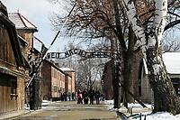 POLAND , Oswiecim, Auschwitz I, concentration camp of german Nazi regime (1940–1945) / POLEN, Auschwitz I Stammlager, deutsches nationalsozialistisches Konzentrations- und Vernichtungslager (1940–1945), Tor mit Aufschrift Arbeit macht frei