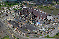 aerial view above Cleveland steel mill Cuyahoga river Ohio