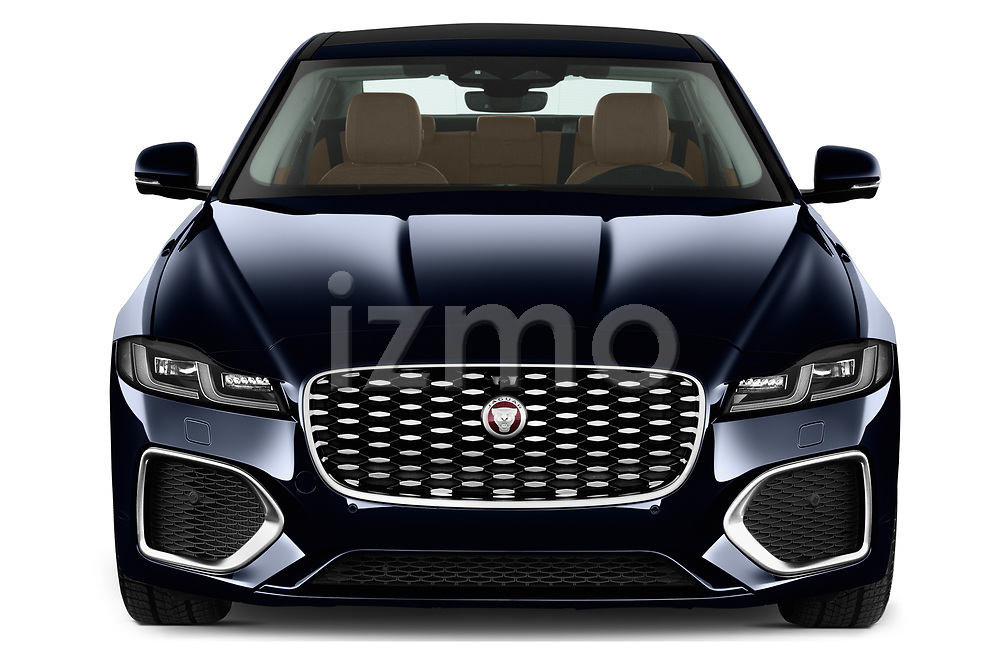 Car photography straight front view of a 2021 Jaguar XF SE 4 Door Sedan Front View
